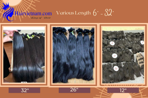 Straight hair with various length and quality.